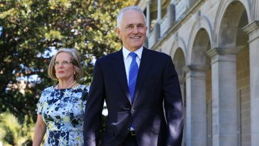 Prime Minister Malcolm Turnbull with wife Lucy.