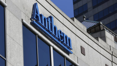 Anthem logo hangs at the health insurer's corporate headquarters in Indianapolis. Anthem Inc.