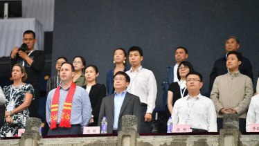 Trade Minister Steven Ciobo attends an AFL match between the Gold Coast Suns and the Port Adelaide Power at Jiangwan Stadium in Shanghai on Saturday.
