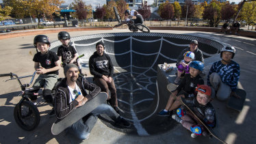 Riley and Toby Williams, Canberra Skateboarding Association president Tony Caruana, Freestyle ACT BMX Club president Rhys Williams, Tyson Jones-Peni, Freestyle ACT BMX Club vice president Cooper Murchie, Jaiden and Juan Kim, Savannah Murchie and Reece Ashton are not happy with a proposal for a KFC next to the Belconnen skate park.
