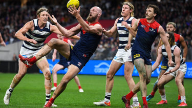 Melbourne captain Max Gawn in action in the preliminary final.