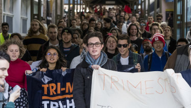 """UNSW students marched to the vice-chancellor's office on Wednesday chanting: """"Ian Jacobs get out, we know what you're all about, cuts, job losses, money for the bosses."""""""