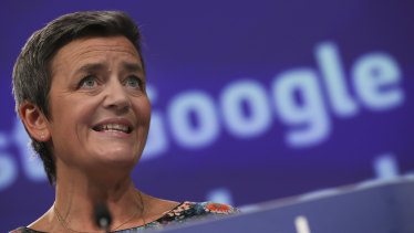 European Competition Commissioner Margrethe Vestager speaks during a media conference at EU headquarters in Brussels.