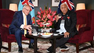Australian Prime Minister Scott Morrison with Fijian Prime Minister Frank Bainimarama last year.