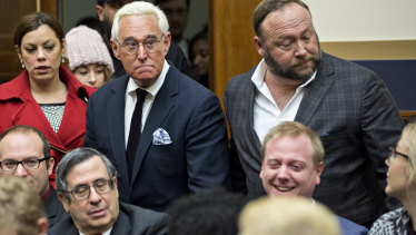 Roger Stone, former adviser to Donald Trump's presidential campaign, left, and Alex Jones, radio host, attended the hearing.