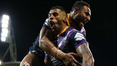 Josh Addo-Carr enjoys the spoils after a forgettable night last week.