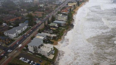 Beach erosion at Collaroy on February 10.