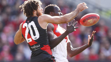 Zac Clarke of the Bombers and Aliir Aliir of the Swans contest the ball in round 16.