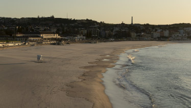 Bondi beach completely empty in early April after the NSW government closed eastern suburbs beaches.