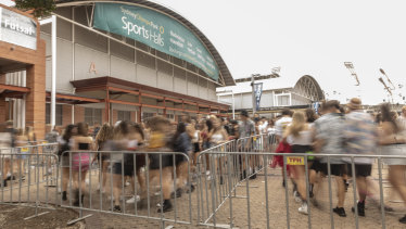 People arrive for The Lost City music festival at the Sydney Showgrounds on 22 February 2019.