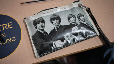 The pencil case of a student in the Beatles course.