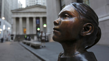 The Fearless Girl now stands in front of the New York Stock Exchange.