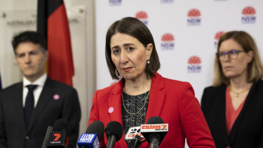 NSW Premier Gladys Berejiklian with Customer Service Minister Victor Dominello and Chief Health Officer Kerry Chant.