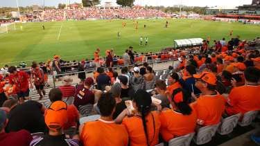 Almost 10,000 squeezed into Dolphin Stadium at Redcliffe to see the Roar play Melbourne City.