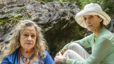 Noni Hazlehurst and Dame Harriet Walter in The End.