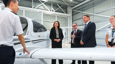 Alan Joyce visited Qantas' new pilot school at Toowoomba with Queensland Premier Annastacia Palaszczuk and State Development Minister Cameron Dick.