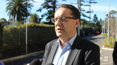 Paul Ponticello speaks outside the NSW Coroners Court on Friday.
