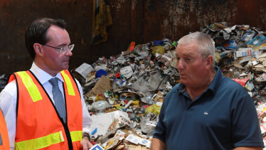 Opposition Leader Michael O'Brien meets with Kevin Clark from Clark's Recycling in Ballarat.