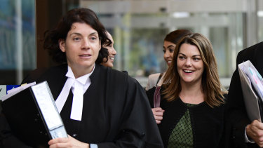 Sarah Hanson-Young (right) leaves court last year with her barrister Sue Chrysanthou.