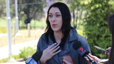 Katrina's stepsister Savannah Olden speaks outside court.