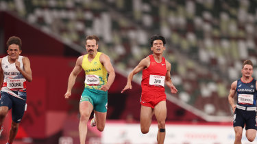 Hanlon (gold) came third in his 100m final.