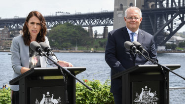 New Zealand Prime Minister Jacinda Ardern and Australian Prime Minister Scott Morrison speak at Admiralty House.