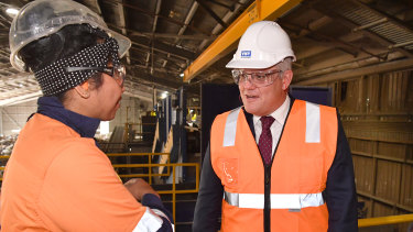 Prime Minister Scott Morrison touring the Visy facility last week
