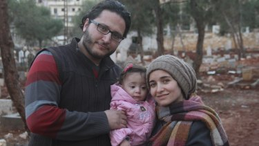 Filmmaker Waad al-Kateab (right), her husband Hamza, and their daughter Sama.