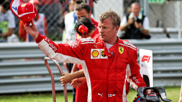 Character: Kimi Raikkonen acknowledges the crowd after taking pole for the Italian Grand Prix with the fastest lap in F1 history.