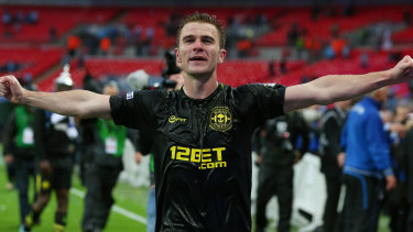Man of the match, Wigan's Callum McManaman, after the 2013 FA Cup final.