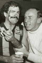 Matthews with John Kennedy in 1985.
