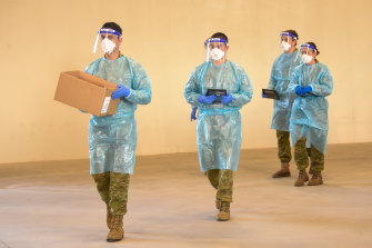 Army personnel assist with the outbreak response in Shepparton.