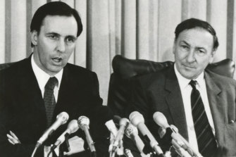 The Treasurer Mr. Paul Keating and the Chairman of the Reserve Bank Mr. R.A. Johnston give a Press Conference at Parliament House on the suspension of foreign exchange.