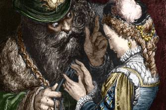 An illustration from the classic fairytale Bluebeard by Charles Perrault.