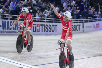 Lasse Hansen (left) and Frederik Madsen were part of Denmark's triumphant team pursuit quartet.