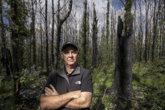 Bill Eger, a volunteer firefighter revisits NSW South Coast forests near Manyana now beginning to recover after last summer's massive fires.