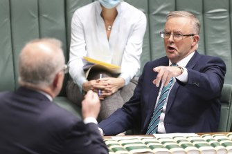 This contest is getting hotter ... Opposition Leader Anthony Albanese and Prime Minister Scott Morrison on Wednesday.
