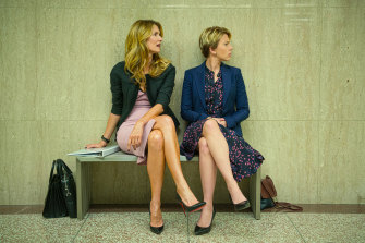 Golden Globe frontrunner Laura Dern, left, with nominee Scarlett Johansson in Marriage Story.
