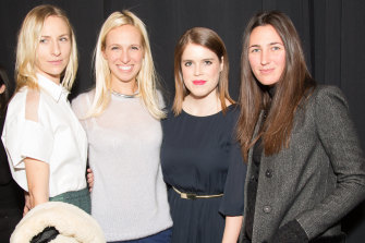 Katherine Keating, right, at the NONOO Fall 2014 Collection in New York with (left to right) Mickey Sumner, Misha Nonoo and Princess Eugenie of York.