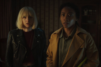 On the case: Zoe Kazan, left, as Nick's sister Pia and Betty Gabriel as his wife Sophie.