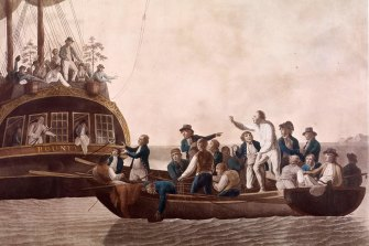 A 1790 painting of William Bligh being set adrift from the Bounty by Fletcher Christian and other mutineers.