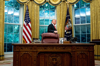 Stymied: President Donald Trump prepares to leave the Oval Office after a presentation at the White House late last week.