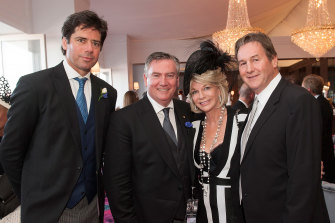 Jeff Browne (right), pictured with AFL CEO Gillon McLachlan, Collingwood president Eddie McGuire and Browne's wife Rhonda Wyllie during the spring racing carnival in Melbourne in 2015.