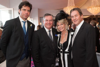 Jeff Browne (right), Eddie McGuire and Browne's wife Rhonda Wyllie in 2015.