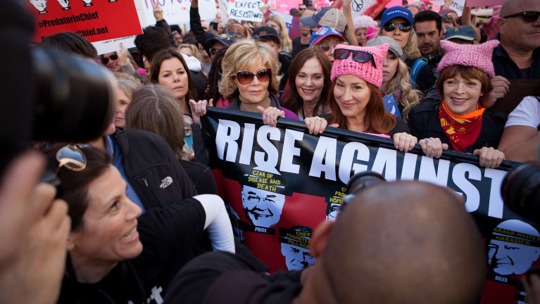 Jane Fonda took part in the Women's March of Los Angeles in January 2017.