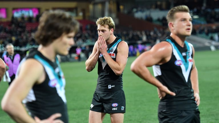 Empty feeling: Port Adelaide lose to West Coast after the final siren.