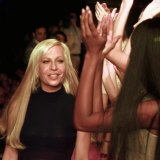 Donatella in Milan in 1997, at the unveiling of her first collection following the death of brother Gianni.