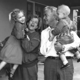 Prime Minister Bob Hawke, with his wife Hazel, and grandchildren Sophie, 5, and Ben, 14 months, at Kirribilli House, Sydney, in 1990.