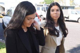Nicola Teo, right, outside Windsor Local Court on Thursday.