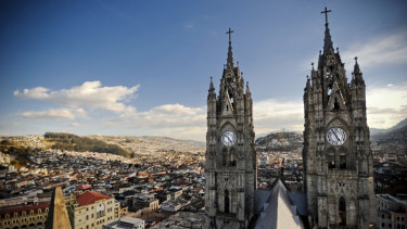 The skyline of Quito, Ecuador, which has emerged as a location in WikiLeaks battle with the US government.